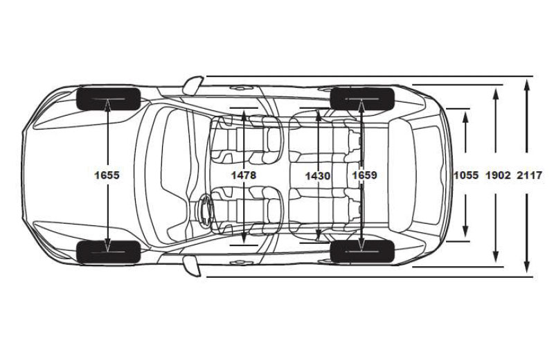 Volvo XC60 medidas cenital